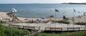 Blick auf Strand und Meer